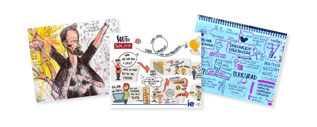 collage of sketch art drawn from attendees of Duncan Wardle's workshops